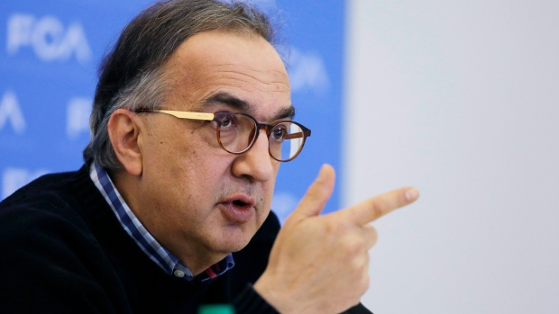 In this Monday, Jan. 11, 2016, file photo, Fiat Chrysler Automobiles CEO Sergio Marchionne addresses the media at the North American International Auto Show, in Detroit. (AP Photo/Carlos Osorio, File)