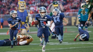 San Jose Marauders youth football players play sports mascots during halftime of an NFL football game between the San Francisco 49ers and the Arizona Cardinals in Santa Clara, Calif. on Nov. 29, 2015. (AP Photo/Marcio Jose Sanchez, File)