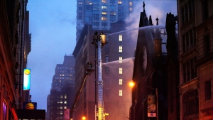Firefighters battle a fire at the historic Serbian Orthodox Cathedral of St. Sava, Sunday, May 1, 2016, in New York (AP / Kathy Willens)