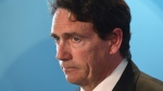 Parti Quebecois Leader Pierre Karl Peladeau reacts during a news conference in Montreal, Monday, May 2, 2016. (Ryan Remiorz / THE CANADIAN PRESS)