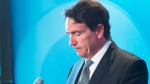 Parti Quebecois Leader Pierre Karl Peladeau announces his resignation at a news conference, Monday, May 2, 2016 in Montreal. (Ryan Remiorz / THE CANADIAN PRESS)