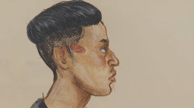 UBC resident David Singh Tucker, 28, is charged with sexual assault with a weapon in connection with an attack on campus. (Court sketch/CTV Vancouver)