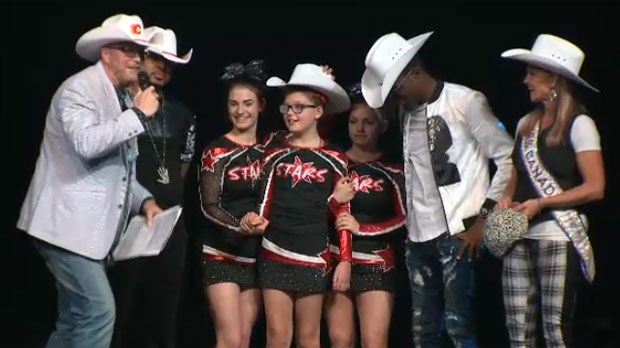 Natasha Gould was white-hatted after performing with her cheerleading squad at an Omi concert in Calgary.