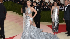 "Rita Ora wears a Vera Wang gown at The Metropolitan Museum of Art Costume Institute Benefit Gala, celebrating the opening of ""Manus x Machina: Fashion in an Age of Technology"" on Monday, May 2, 2016, in New York. (Photo by Evan Agostini / Invision/AP)"