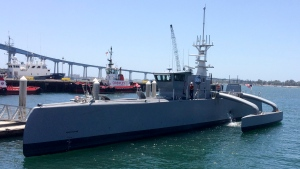 A self-driving, 132-foot military ship sits at a maritime terminal Monday, May 2, 2016, in San Diego. The Pentagon's research arm is launching tests on the world's largest unmanned surface vessel designed to travel thousands of miles out at sea without a single crew member on board. (AP Photo / Julie Watson)