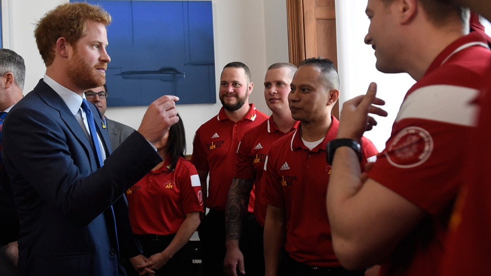 Prince Harry meets Canadian athletes at Queen's Park in Toronto, Monday, May 2, 2016, during the Prince's visit to promote the 2017 Invictus Games. (Nathan Denette / THE CANADIAN PRESS)