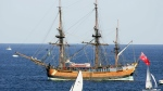 The replica of the ship, the Endeavour, lies at anchor after it was removed from a sandbar in Botany Bay, Sydney on April 17, 2005. (AP / Mark Baker)