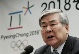 In this Feb. 3, 2016, file photo, Cho Yang-ho, president of the Pyeongchang 2018 Winter Olympics Organizing Committee, speaks during a press conference about the alpine skiing test event for the 2018 Pyeongchang Olympics in Jeongseon, at the Press Center in Seoul, South Korea. (AP/ Ahn Young-joon)