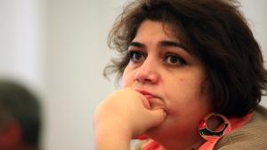 Azeri Khadija Ismayilova in Baku, Azerbaijan on March 2, 2014 (Aziz Karimov / AP)