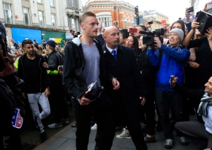 Leicester City's Jamie Vardy arrives at San Carlo Pizzeria for a celebratory lunch in Leicester, England Tuesday May 3, 2016. (Jonathan Brady / PA via AP)