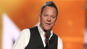 Kiefer Sutherland presents the award for female vocalist of the year at the 51st annual Academy of Country Music Awards at the MGM Grand Garden Arena on Sunday, April 3, 2016, in Las Vegas. (Photo by Matt Sayles/Invision/AP)