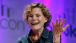 "Author Judy Blume speaks about her new book, ""In the Unlikely Event,"" her first novel for adults in 17 years, at BookCon in New York, Sunday, May 31, 2015. (AP / Kathy Willens)"