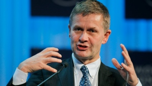 Norway's Minister of Environment and International Development Erik Solheim gestures as he speaks during a session at the World Economic Forum, WEF, in Davos, Switzerland, Friday, Jan. 27, 2012. The WEF meeting lasts until Jan. 29. (AP / Michel Euler)