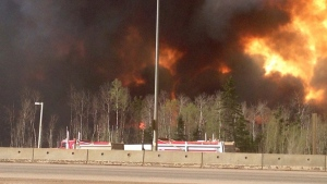 Trees burn near a road in Fort McMurray, Alta. on Tuesday May 3, 2016. (CAOS91.1(KAOS)/ THE CANADIAN PRESS)