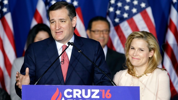 Republican presidential candidate, Sen. Ted Cruz, R-Texas, speaks as his wife, Heidi, listens during a primary night campaign event, Tuesday, May 3, 2016, in Indianapolis. (AP / Darron Cummings)