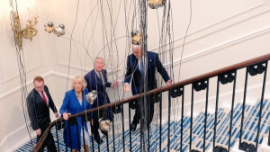 Prince Charles and the Duchess of Cornwall toured the re-designed High Commission of Canada in London, U.K., on May 4, 2016. (Clarence House / Twitter)