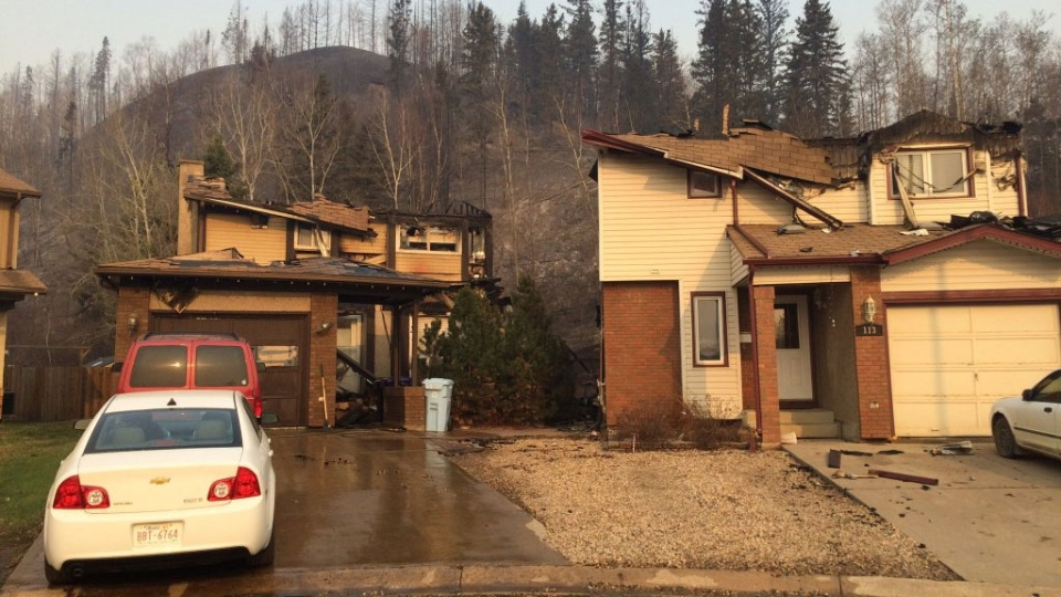 Homes damaged by wildfires are seen in Fort McMurray, Alta., on Wednesday, May 4, 2016. (Breanna Karstens-Smith / CTV News)