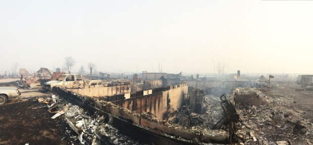 What is left of the community of Beacon Hill, Alta., is seen after wildfires devastated the area on Wednesday, May 4, 2016. (Chad Kruger / CTV News)