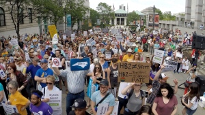 Protesters rally against House Bill 2 in Raleigh, N.C., Monday, April 25, 2016. (Chuck Liddy/The News & Observer via AP)