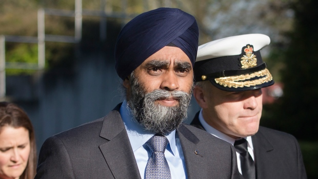 Canadian Minister of Defence Harjit Sajjan arrives the meeting of the alliance of Defense Ministers in the fight against the terrorist organization Islamic State (IS) in Stuttgart, Germany on Wed., May 4, 2016. (Christoph Schmidt / dpa)