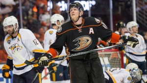 Anaheim Ducks' right wing Corey Perry (10) skates away in the closing seconds of the Ducks loss to the Nashville Predators of Game 7 in an NHL hockey Stanley Cup playoffs first-round series in Anaheim, Calif., April 27, 2016. (THE CANADIAN PRESS/AP, Michael Goulding-The Orange County Register)