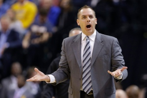 In this Jan. 26, 2016 file photo, Indiana Pacers head coach Frank Vogel questions a call during the first half of an NBA basketball game Los Angeles Clippers in Indianapolis. (AP / Michael Conroy)