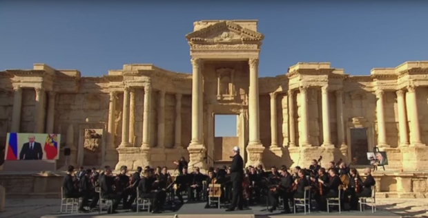 Russian President Vladimir Putin addresses concert held in Syria's ancient city of Palmyra. (YouTube)
