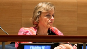 U.N. Secretary General candidate, former Croatian Foreign Minister Vesna Pusic, listens to proceedings in the United Nations Trusteeship Council Chamber, Tuesday, April 12, 2016. (AP / Richard Drew)