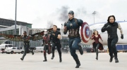 Anthony Mackie (as Falcon/Sam Wilson), Paul Rudd (as Ant-Man/Scott Lang), Jeremy Renner (as Hawkeye/Clint Barton), Chris Evans (as Captain America/Steve Rogers), Elizabeth Olson (as Scarlett Witch/Wanda Maximoff) and Sebastian Stan (as Winter Soldier) in 'Captain America: Civil War.' (Walt Disney Studios Motion Pictures)