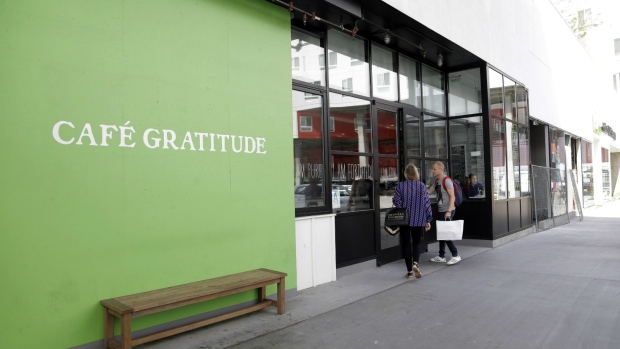 Cafe Gratitude restaurant is seen in Los Angeles on Wednesday, May 4, 2016. (AP / Nick Ut)