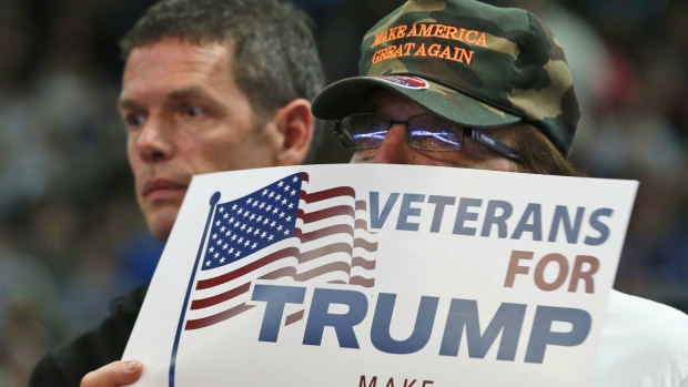 A supporter of Republican presidential candidate Donald Trump holds a sign during a rally in Charleston, W.Va. on Thursday, May 5, 2016. (AP / Steve Helber)