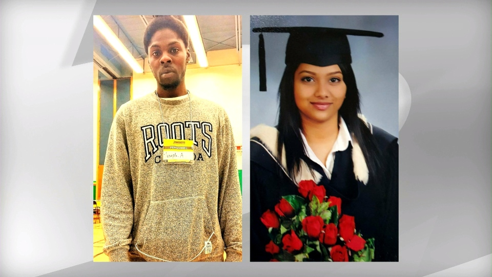 Joseph Anzolona, 26, and 24-year-old Cynthia Mullapudi are seen in these photographs provided by Toronto police at a press conference on Friday, May 6, 2016.