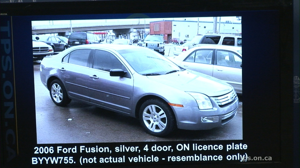 Investigators are searching for a 2006, grey, four-door Ford Fusion with the licence plate BYYW 755 in connection with a shooting in Scarborough that left two people dead on Friday, April 29, 2016.