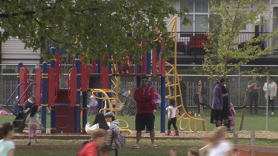 Access to playgrounds is being rationed out at 11 Surrey schools, including Katzie Elementary, as the district deals with an influx of students. May 6, 2016. (CTV)