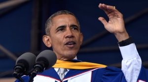 "President Barack Obama gives his commencement address to the 2016 graduating class of Howard University in Washington, Saturday, May 7, 2016.   Obama says the country is ""a better place today"" than when he graduated from college more than 30 years ago, citing his historic election as ""one indicator of how attitudes have changed."" (AP Photo/Susan Walsh)"