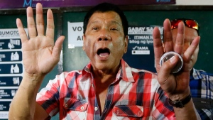 Rodrigo Duterte gestures in Davao city in southern Philippines on May 9, 2016. (Bullit Marquez / AP)