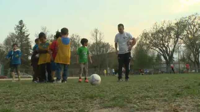 On Friday night, Rahimi started the Liberty Football Club Soccer Academy as dozens of refugee children took to the pitch at R.A. Steen Community Centre.