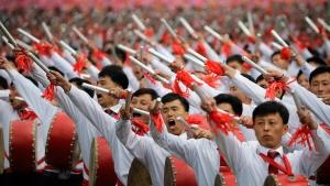 Parading in Kim Il Sung Square in Pyongyang, North Korea, on May 10, 2016. (Wong Maye-E / AP)