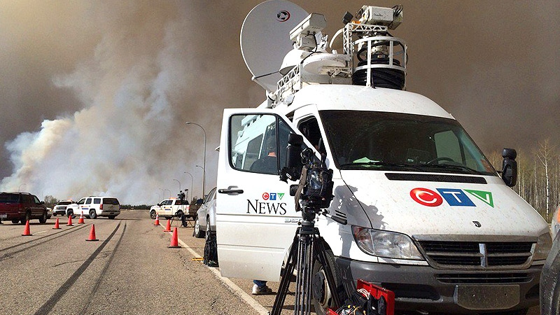 CTV's satellite truck covering Fort McMurray fire