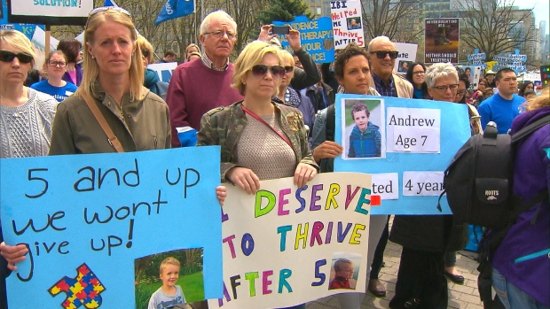 Parents protest the Ontario's government's rules around autism treatment.