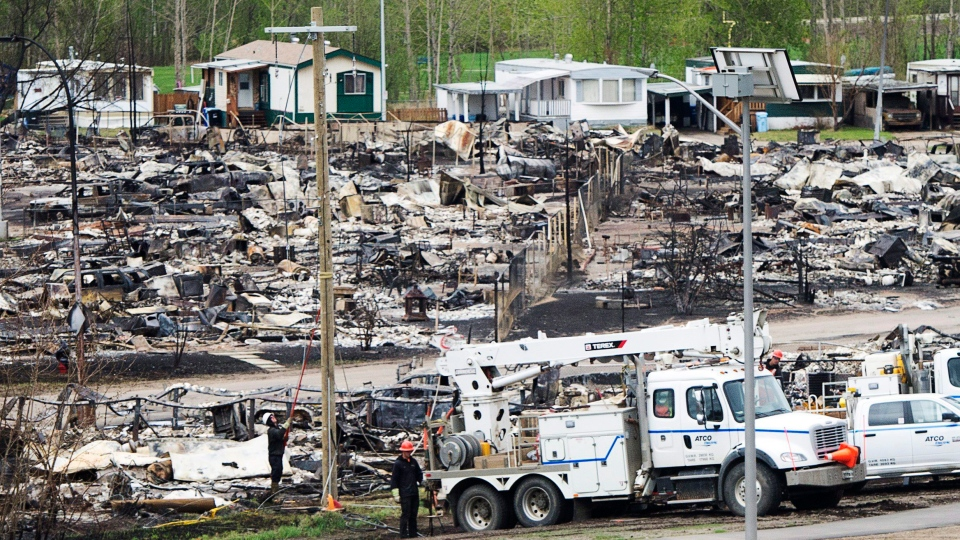 A trailer park damaged by the wildfires is seen in Fort McMurray, Alta., on Monday, May 9, 2016. (Ryan Remiorz / THE CANADIAN PRESS)