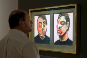 In this Friday, March 29, 2016 photo, Francis Bacon's 'Two Studies for a Self-Portrait' is viewed during the spring auction preview at Sotheby's, in New York. (AP / Richard Drew)