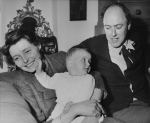 In a May 1966 file photo, American-born actress Patricia Neal is pictured with her husband, author Roald Dahl and their 9-month-old daughter Lucy Neal Dahl, at their home at Great Missenden, Buckinghamshire, England. (AP Photo, File)