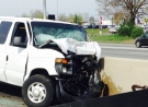 One person was killed when a passenger vehicle and transport truck collided on Highway 401 near Ingersoll on Thursday, May 12, 2016. (Sean Irvine / CTV London)