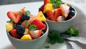Honey fruit salad is shown on June 9, 2014. (AP /Matthew Mead)