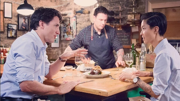 Prime Minister Justin Trudeau with celebrity chef Kristen Kish, in an Instagram post (Source: Instagram / justinpjtrudeau)
