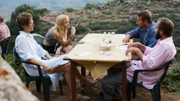 From left to right: Tilda Swinton, Dakota Johnson, Matthias Schoenaerts and Ralph Fiennes in 'A Bigger Splash.'