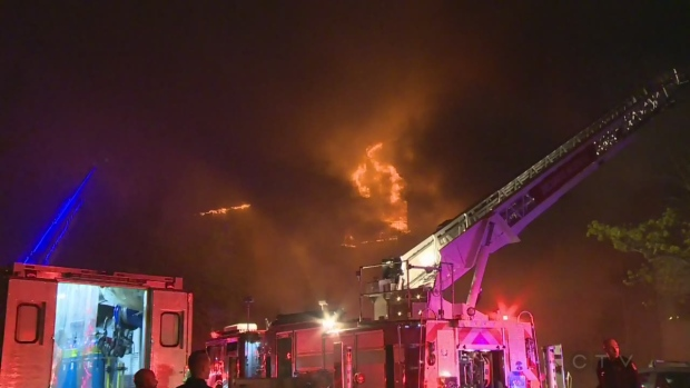 Fire broke out at 2 a.m. Friday May 13, 2016 at an apartment building in Longueuil