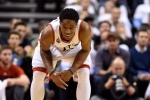 Toronto Raptors' DeMar DeRozan reacts after hurting his thumb again during second half NBA playoff basketball action against Miami Heat in Toronto on Wednesday, May 11, 2016. (Frank Gunn / THE CANADIAN PRESS)