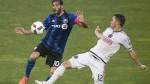 Montreal Impact's Ignacio Piatti (10) challenges Philadelphia Union's Keegan Rosenberry (12) during second half MLS soccer action in Montreal, Saturday, May 14, 2016. THE CANADIAN PRESS/Graham Hughes